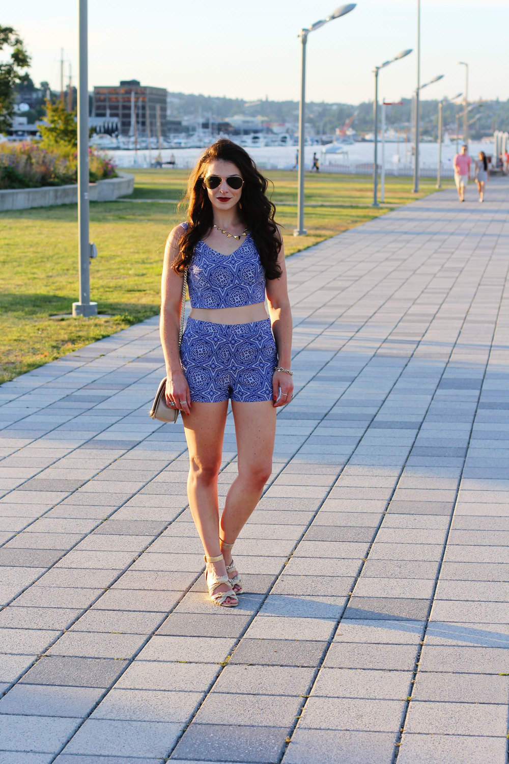 Fashion Blogger, Top and Shorts Set, Coordinates, Matching Top and Shorts, Loeffler Randall Gladiator Sandals, David Yurman Bracelet, Rebecca Minkoff Love Crossbody, Ray-Ban Aviators