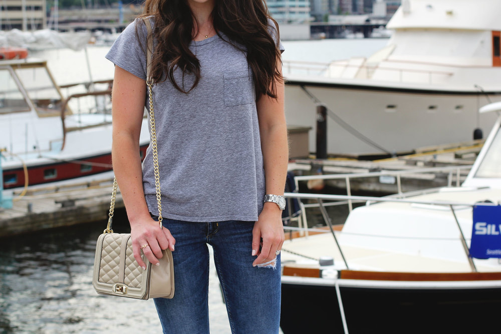 Fashion Blogger, Laid Back Style, Jeans and a T-Shirt, Travel Style, Floral Running Shoes, Rebecca Minkoff LOVE Crossbody Bag, Summer Style