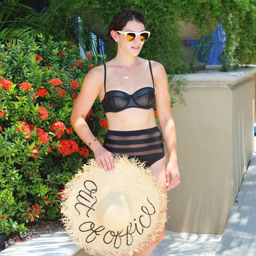 High Waisted RVCA Lazy Leopard Cheeky Bottom, Triangl Bikini, Wildfox Sunglasses, Milkmaid Braids