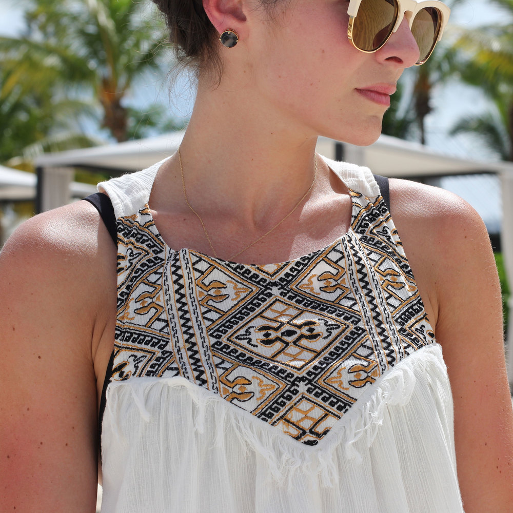 Volcom Under The Moon Maxi Dress, Beach Style, Fashion Blogger, Grand Cayman, Summer Style, Beach, Maxi Dress Coverup, Milkmaid Braids, Wildfox Wayfarer Sunglasses, Sam Edelman Gigi
