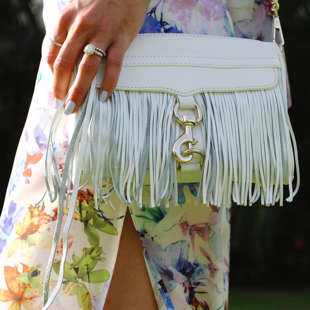 Rebecca Minkoff Fringe Mini MAC, JOA Floral Maxi Dress, Summer Style, Just One Answer, Vacation Fashion, Tropical, Fashion Blogger, Top Knot,