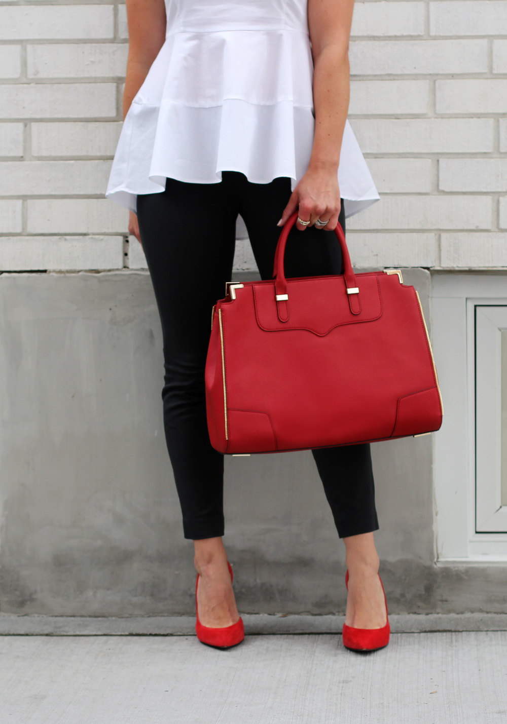 Business Casual, Interview Outfit, J.Crew Minnie Pants, Zara Peplum Top, Rebecca Minkoff Amorous Satchel, Vintage Necklace, Jessica Simpson Claudette Pumps