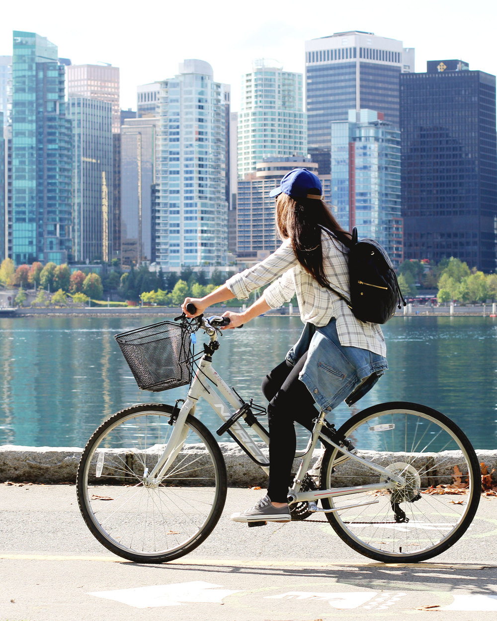 Vancouver Canada, Seawall Bike Ride, Athleisure, Vera Bradley Quilted Amy Backpack, Wool Baseball Cap, J.Crew Denim Jacket