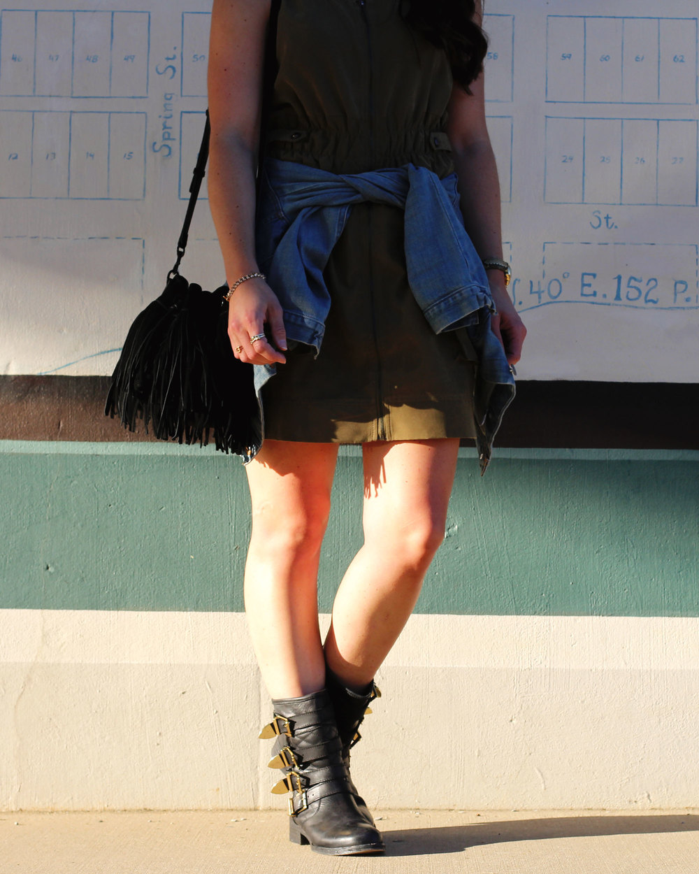 Fall Style, Faux Suede Dress, Motorcycle Boots, J.Crew Denim Jacket, Black Aviators, Fringe Rebecca Minkoff Fiona Bag