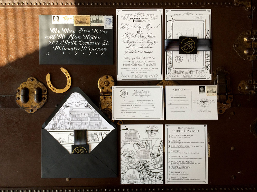 Me & Mr. Jones Wedding, Equestrian Inspired Invitation Suite, Calligraphy Wedding Invitations, Leather Belly Band, Black White and Gold Wedding Invitations