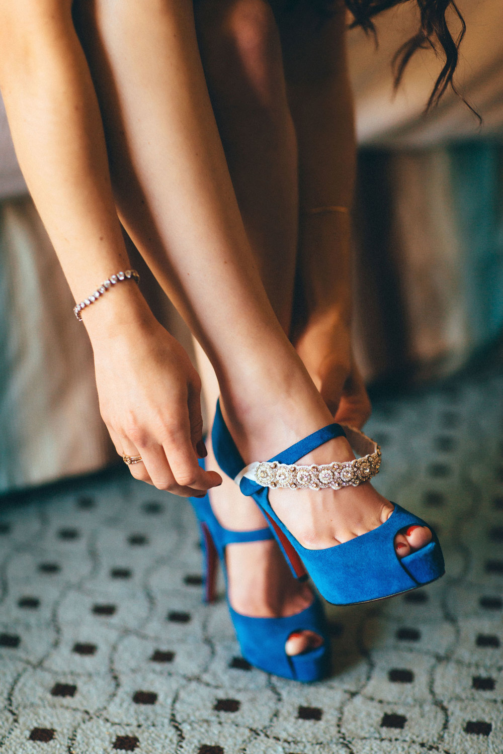 Me & Mr. Jones Wedding, Blue Christian Louboutin Pumps, Blue Wedding Shoes, La Gartier garter, Beaded Garter
