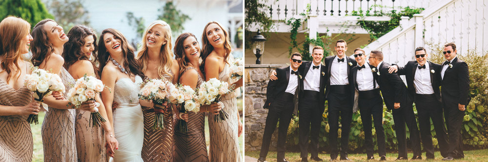 Me & Mr. Jones Wedding, Black Tie Wedding, Bridesmaids wearing Adrianna Papell Beaded Dresses, Embellished Bridesmaids Dresses, Black Tie Wedding, Blush Bridesmaids, Black Tuxedos