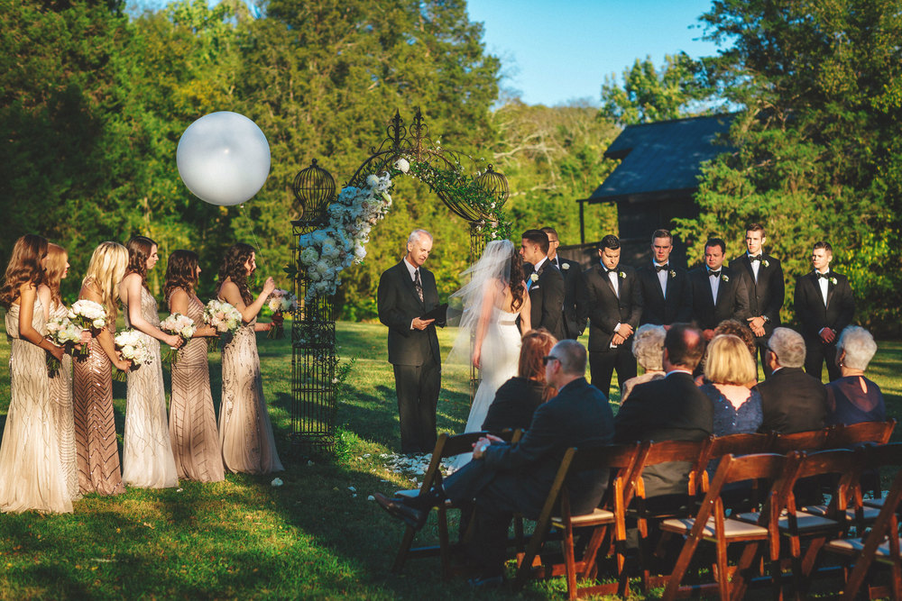 Me & Mr. Jones Wedding, Bridesmaids Wearing Adrianna Papell Beaded Bridesmaids Dresses, Embellished Bridesmaids Dresses, Balloon to Honor Lost Loved Ones