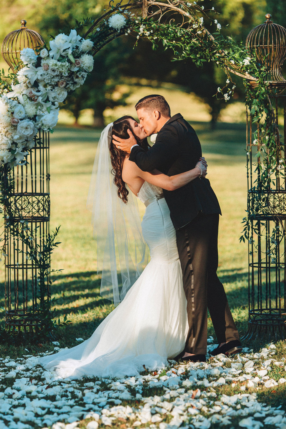 Me & Mr. Jones Wedding, Love Veil, First Kiss, Rustic Glam Wedding, Ballet Veil, Fountain Veil, Black Tie Wedding, Floral Arch at the Altar, Rose Petal Aisle, Rustic Arch with Flowers