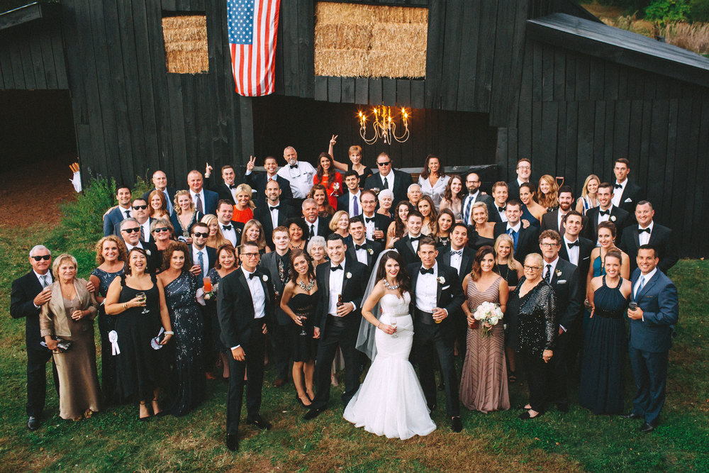 Me & Mr. Jones Wedding, Rustic Glam, Cocktail Hour in the Barn at Cedarwood in Nashville, Small Wedding Group Photo