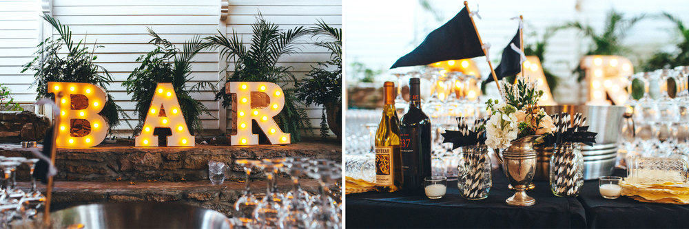 Me & Mr. Jones Wedding, Rustic Glam Wedding, BAR sign, Lightbulb Letters, Paper Straws With Wedding Date Flag