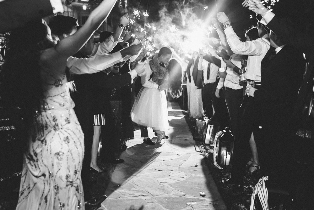 Me & Mr. Jones, Sparkler Exit, Black and White Wedding Photos, Space 46 Skirt