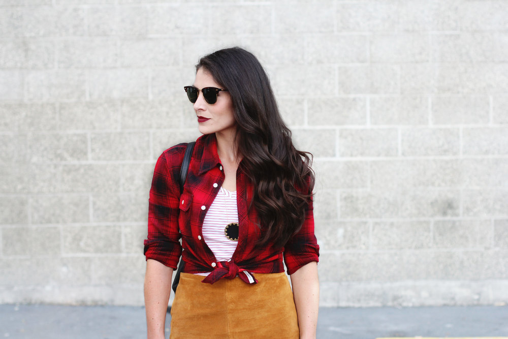 Fall Style, Red Plaid Shirt, Suede Skirt, Black Leather Booties, Vera Bradley Quilted Amy Backpack
