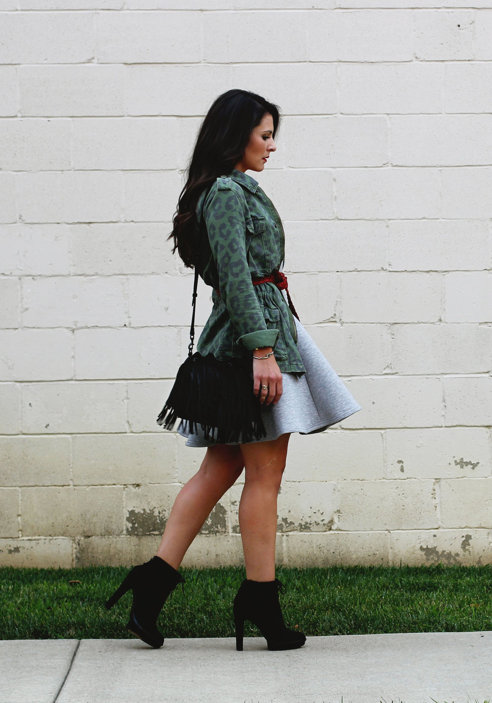 Fall Fashion Layering, Minkpink Stagnant Dress, Urban Outfitters Anorak, Belted with Red Belt, Black Elizabeth and James Booties, Rebecca Minkoff Fringe Bucket Bag