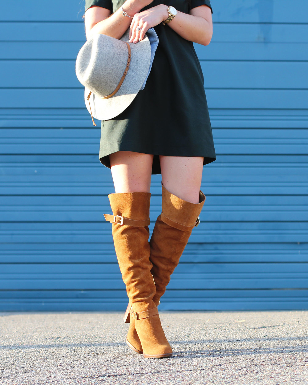 Fall Fashion, Topshop Lace Up Shirtdress, REPORT Lipton Suede Over The Knee Boots, Merona Hat, Forever 21 Unstructured Denim Clutch