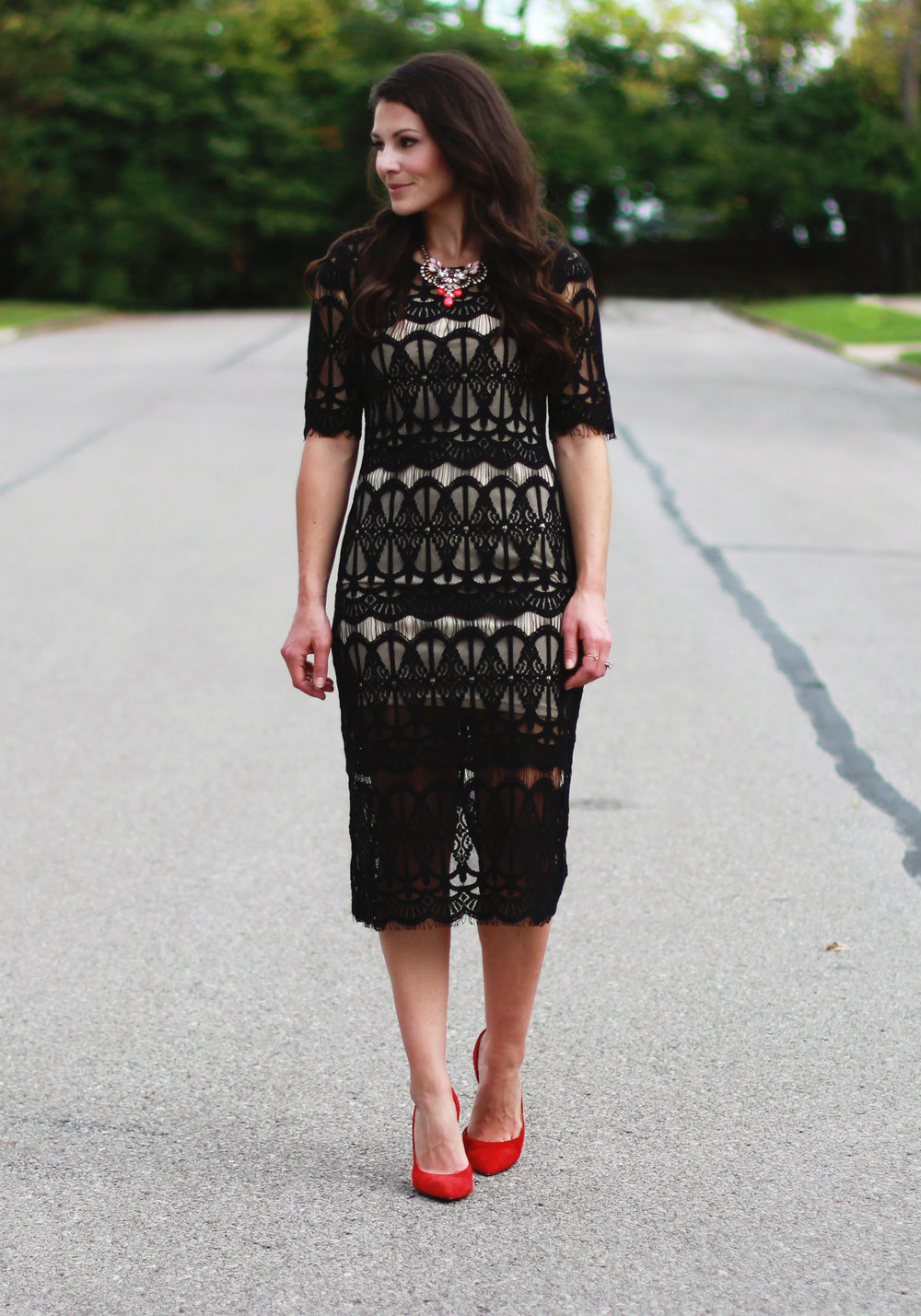 Fall Fashion, JOA Lace Body-Con Dress, Wedding Guest Attire, Statement Necklace, Midi Dress, Jessica Simpson Claudette Pumps