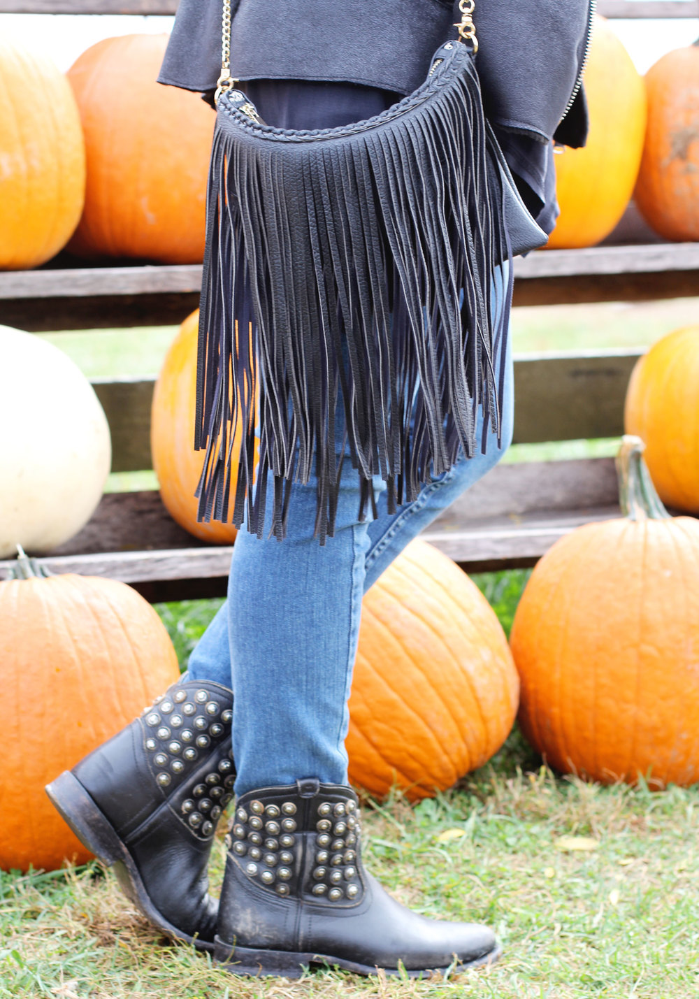 Fall Fashion Layering, Bar III Faux Fur Moto Vest, Altard State Cowl Neck Top, Paige Verdugo Ankle Jean, Sole Society Fringe Crossbody Bag, FRYE Studded Boots