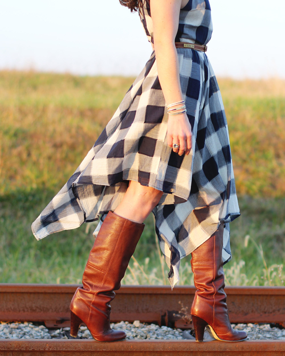 Fall Fashion, Storee Handkerchief Hem Halter Dress, Dolce Vita Boots, Perfect Dress for Layering on www.me-and-mrjones.com!