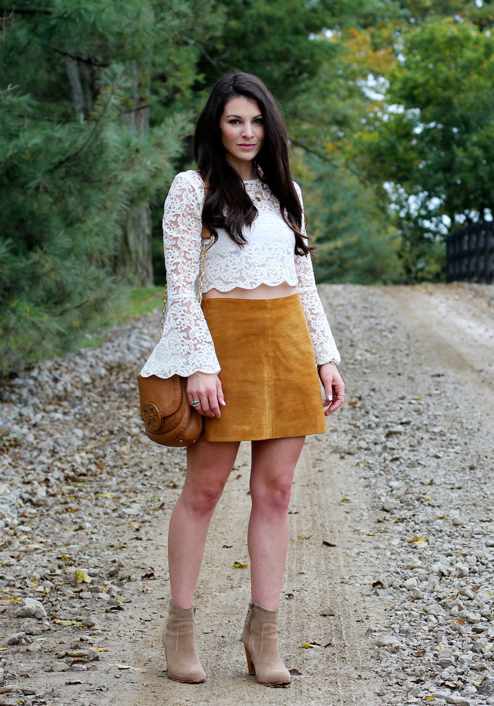 Fall Fashion, LC Lauren Conrad Runway Collection Scallop Lace Crop Top, Suede Skirt, Joie Dalton Booties, Tory Burch Britten Crossbody Bag