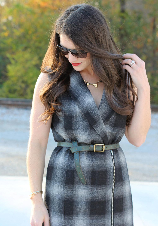 Fall Fashion, WAYF Plaid Long Vest, Elizabeth and James Black Booties, Black Aviator Sunglasses