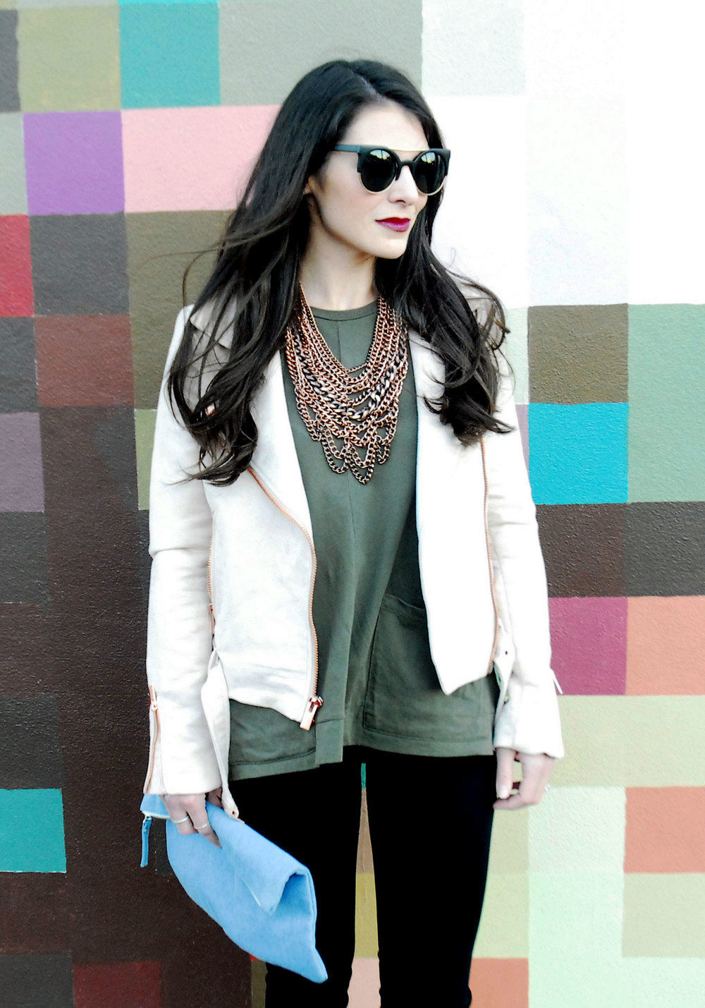 Fall Fashion, LC Lauren Conrad Moto Jacket, Light Pink and Green, Baublebar Courtney Bib Necklace, Jessica Simpson Cassley Booties, Forever 21 Cat Eye Sunglasses and Denim Clutch