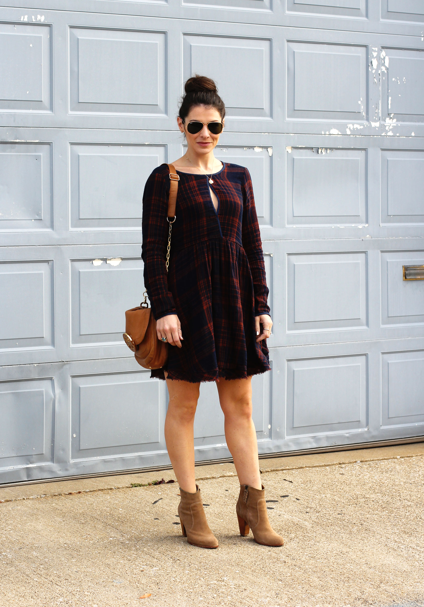 5792c3923 Fall Fashion, Altar'd State Plaid Dress, Joie Dalton Booties, Tory Burch