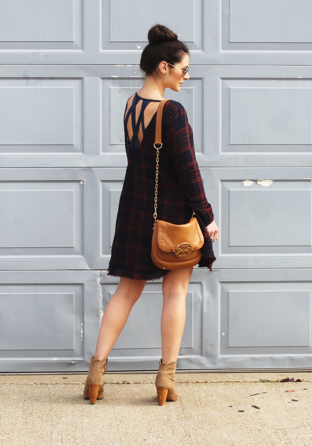 Fall Fashion, Altar'd State Plaid Dress, Joie Dalton Booties, Tory Burch Crossbody, and Ray-Ban Aviator Sunglasses, Casual Fall Style