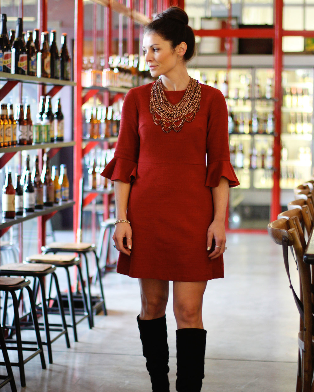 Holiday Party Outfit, TOPSHOP Fluted Sleeve Dress, Arturo Chiang Slouch Boots, Baublebar Courtney Bib Necklace