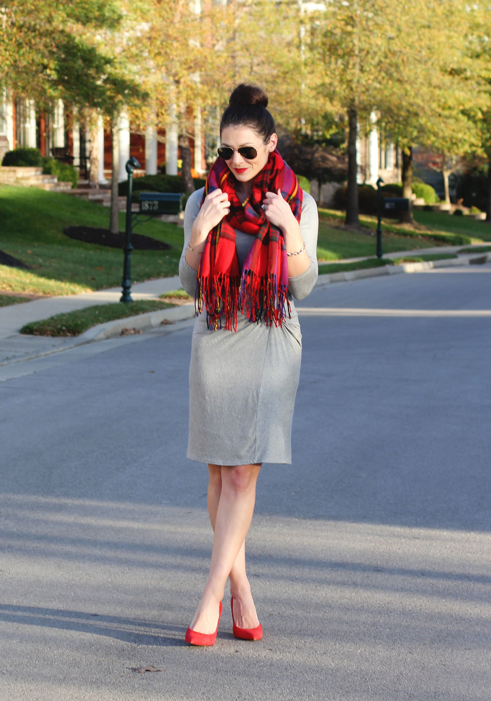 Christmas dress casual - Anthropologie Amadi Knotted Knit Dress Plaid Blanket Scard Red Jessica Simpson Claudette Pumps