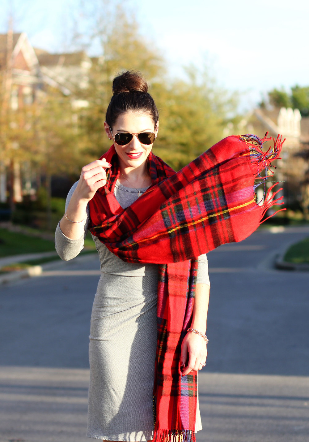 Anthropologie Amadi Knotted Knit Dress, Plaid Blanket Scard, Red Jessica Simpson Claudette Pumps, Casual Christmas Party Outfit, Red Longchamp