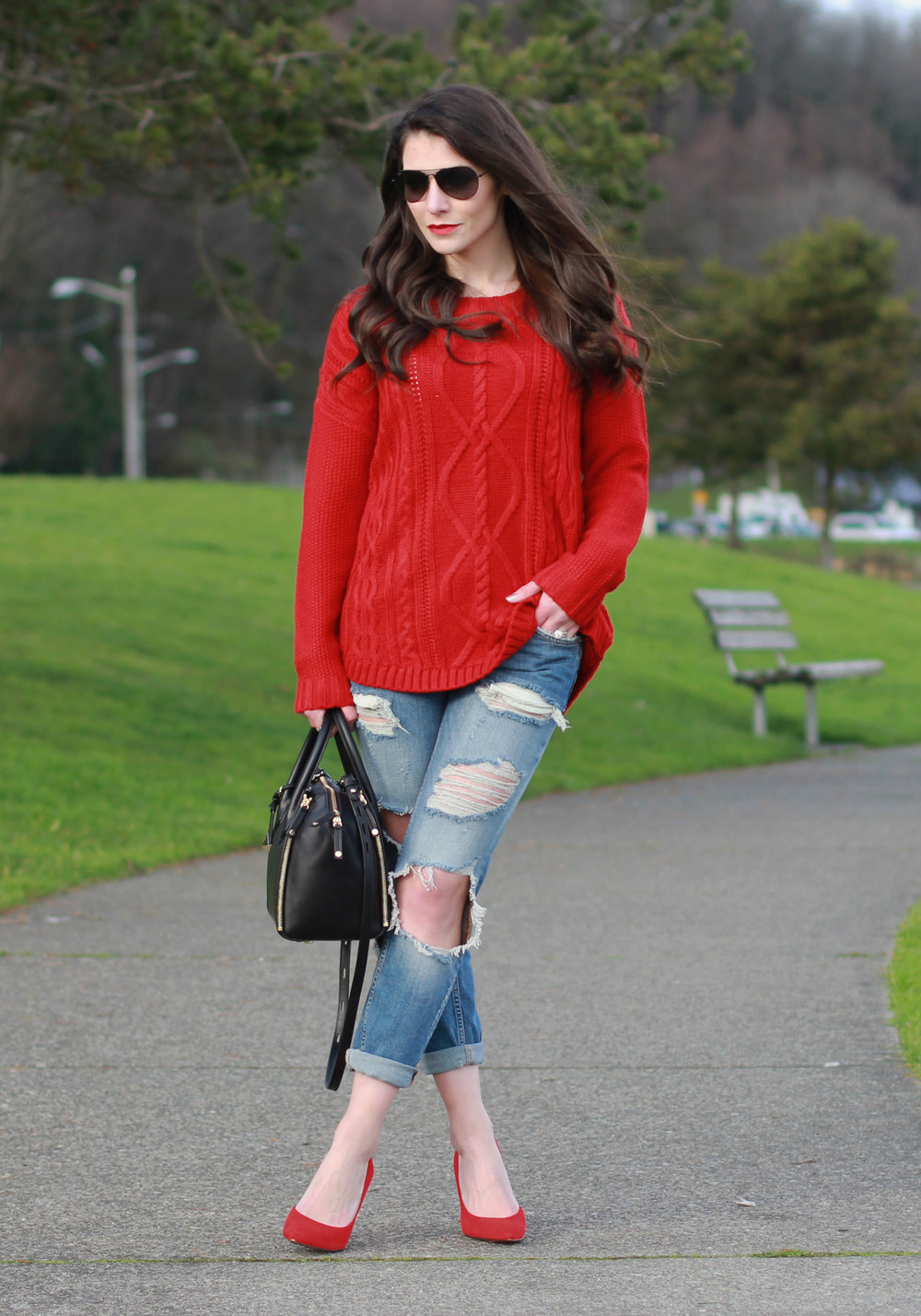 Holiday Outfit, Winter Oufit, Zara Destroyed Jeans, Red Sweater, Red Pumps, Rebecca Minkoff Mini Perry Satchel, Maui Jim Black Aviator Sunglasses