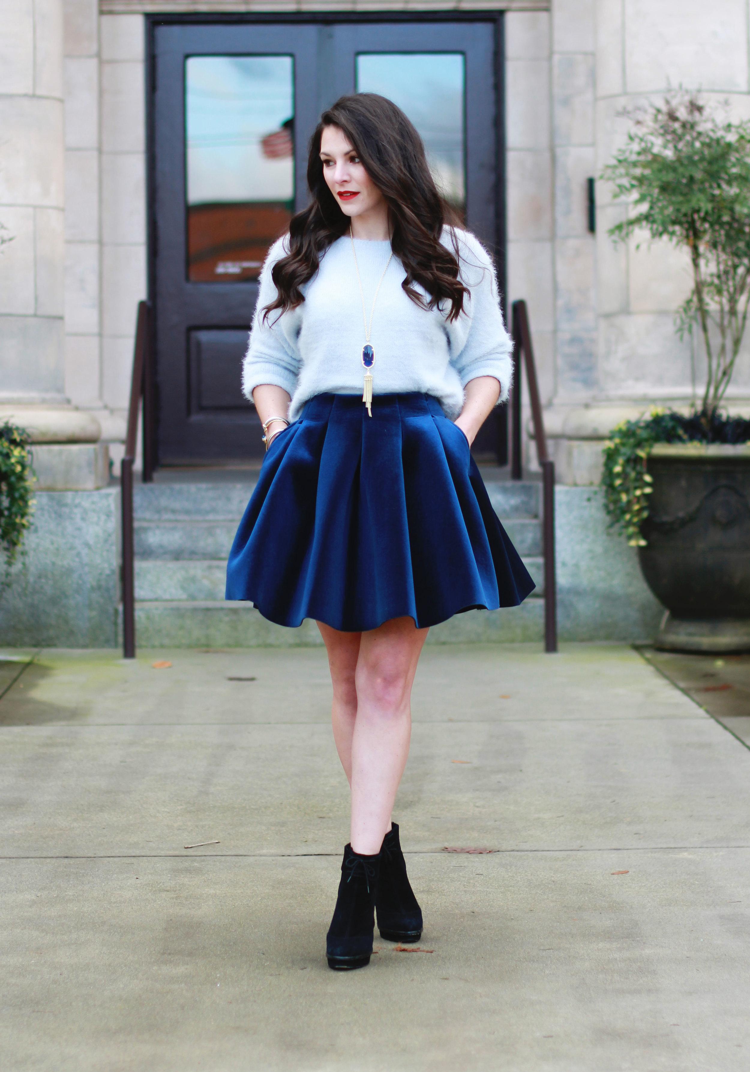 5232c7ff65 Winter Outfit, Lauren Conrad Runway Velvet Pleated Skirt, LC Lauren Conrad  Eyelash Boatneck Sweater