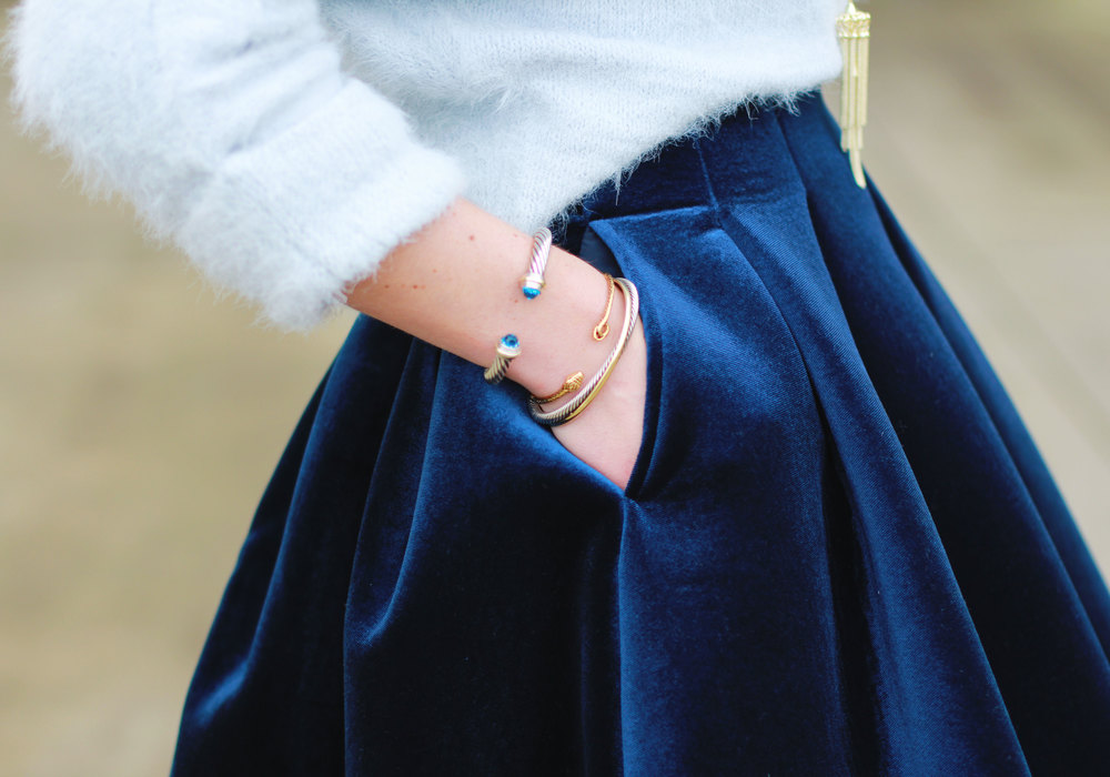 Winter Outfit, Lauren Conrad Runway Velvet Pleated Skirt, LC Lauren Conrad Eyelash Boatneck Sweater, Black Booties, MAC Ruby Woo Lipstick, David Yurman Bracelets
