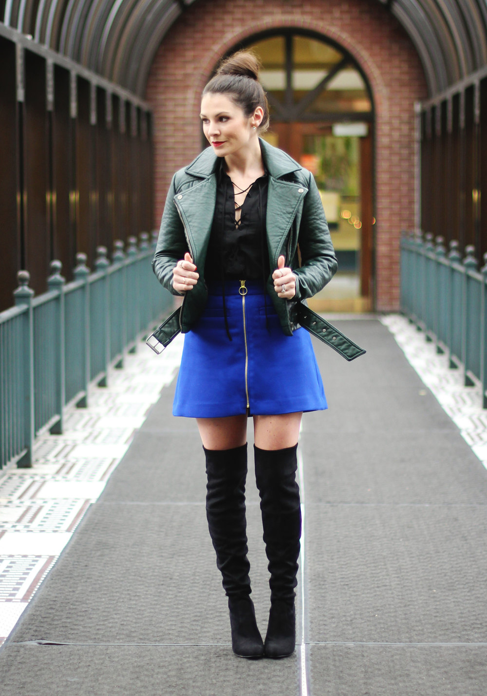 Winter Outfit, Blue High Waisted Zip-Front A-Line Skirt, Express Lace Up Long Sleeve Blouse, Steve Madden Gorgeous Boots, Vintage Beaded Clutch, Emerald Green Moto Jacket
