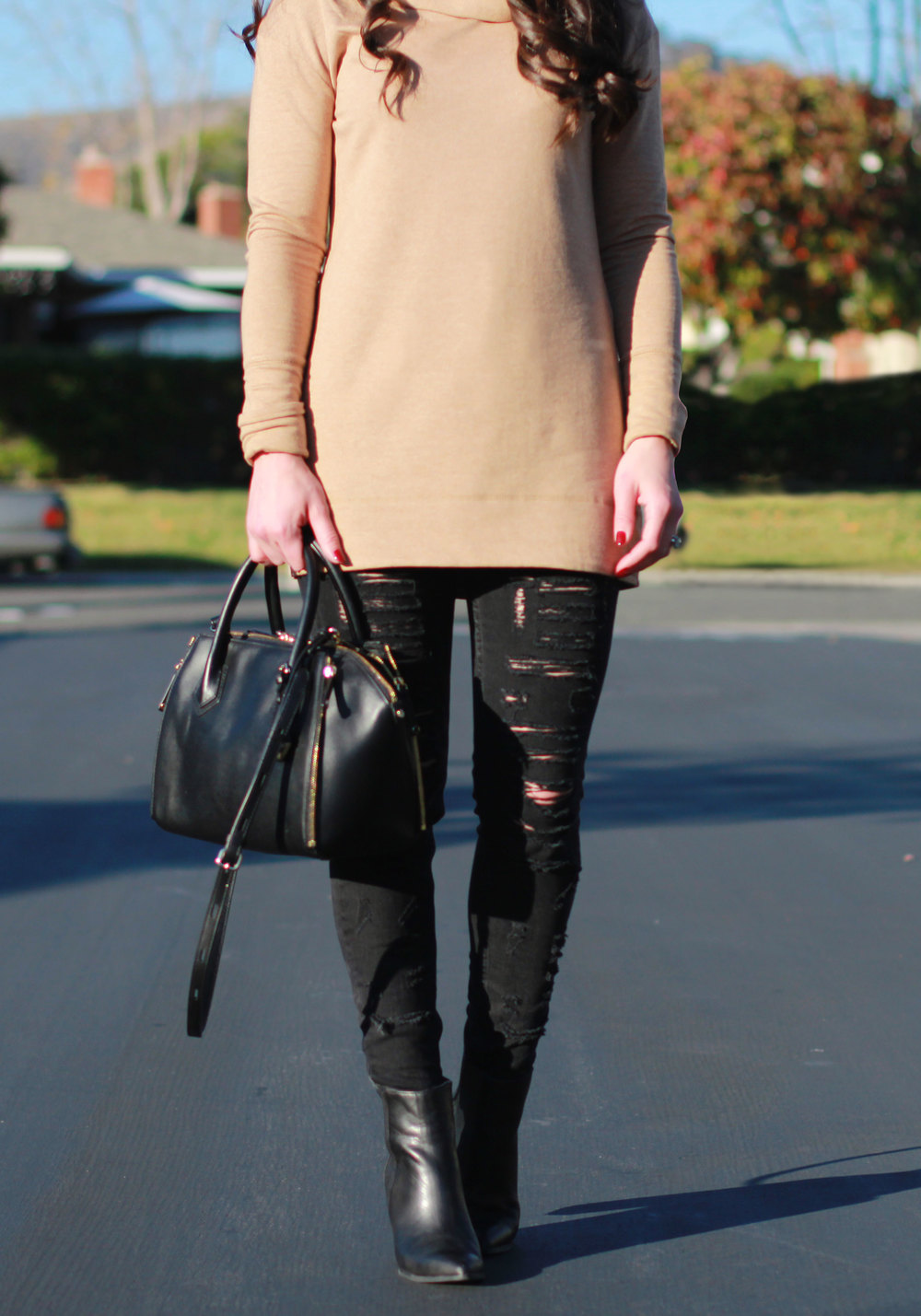Winter Outfit, Fashion Blogger, Cowl Neck Tunic Sweater, Black Ripped Skinny Jeans, Seychelles Accordian Booties, Rebecca Minkoff Mini Perry Satchell, Brixton Mayfield II Hat, Black & Tan Outfit