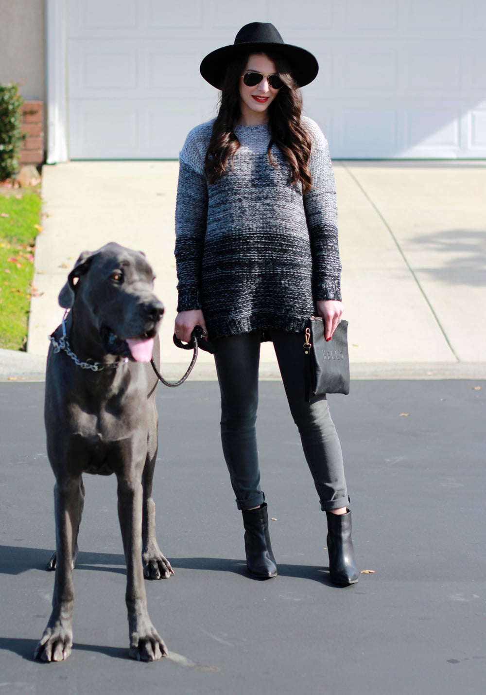 Winter Outfit, Groutfit, Gray Outfit, Xhilaration Ombre Sweater, Paige Jeans, Seychelles Acordian Booties, Brixton Mayfield II Hat, Sole Society Hello Clutch, Blue Great Dane