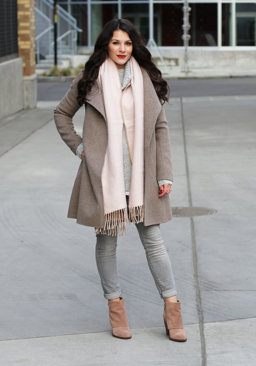 Gray Outfit, Groutfit, Winter Outfit, Forever 21 Ribbed Turtleneck Sweater, Gap Skinny Jeans, Jessica Simpson Nude Suede Booties, Blush Pink Scarf, Banana Republic Belted Wrap Coat