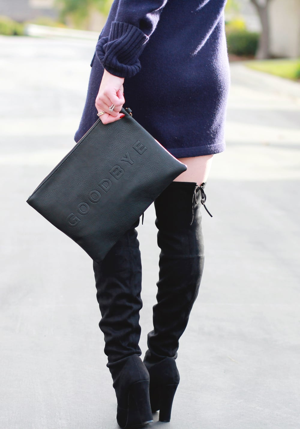 Winter Outfit, Fashion Blogger, Navy Sweater Dress, Steve Madden Gorgeous Over The Knee Boots, Cowl Neck, Sole Society 'Justine' Hello Goodbye Oversize Clutch