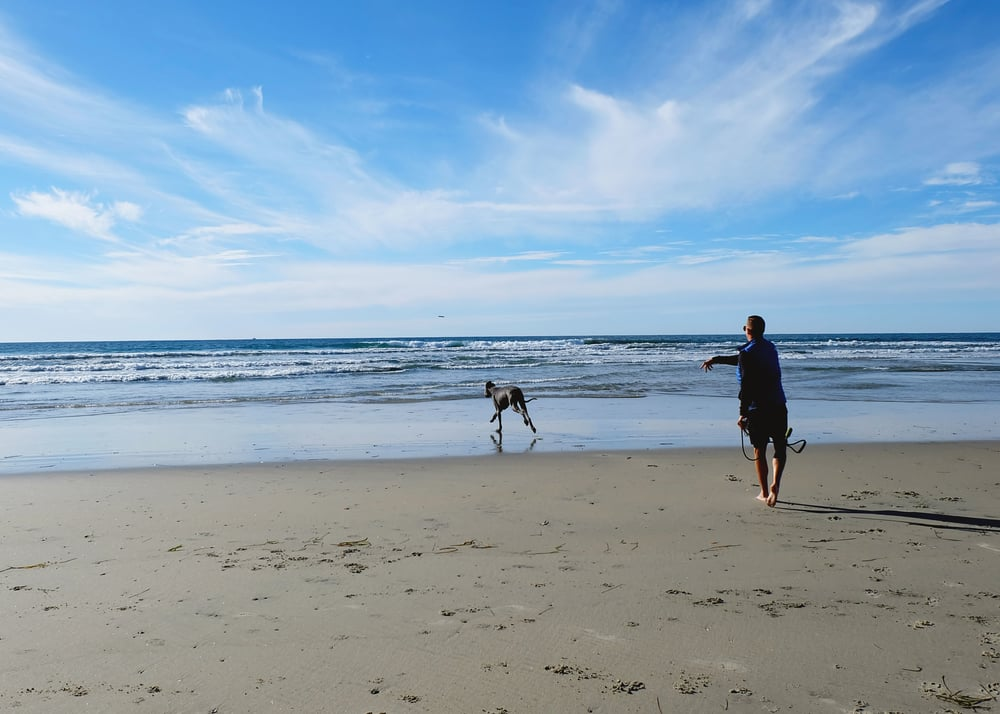 Gary loves Dog Beach Del Mar!