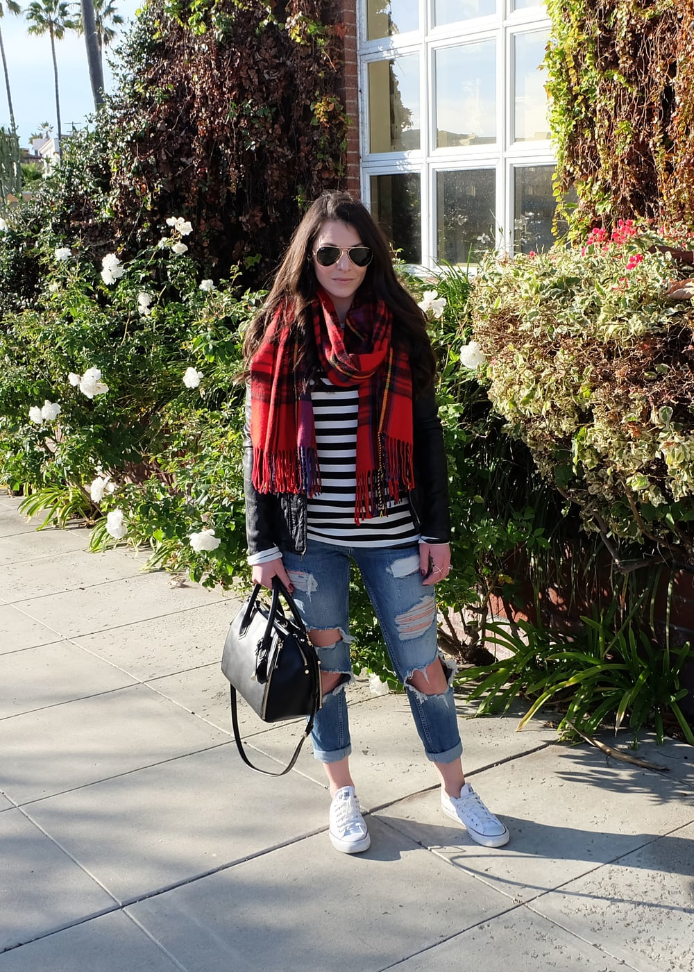 Casual Winter Outfit, Chuck Taylors, Black & White Stripe Tee, Blanket Scarf, and Vince Leather Jacket