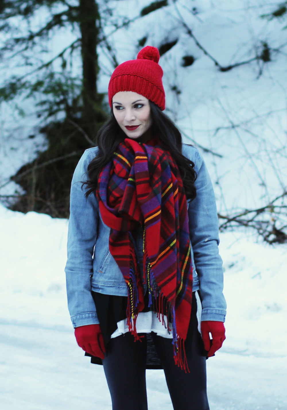 Snow Day Outfit, Cute Snow Boots, SOREL Joan of Arctic Wedge Boots, Plaid Blanket Scarf, Red Gap Beanie