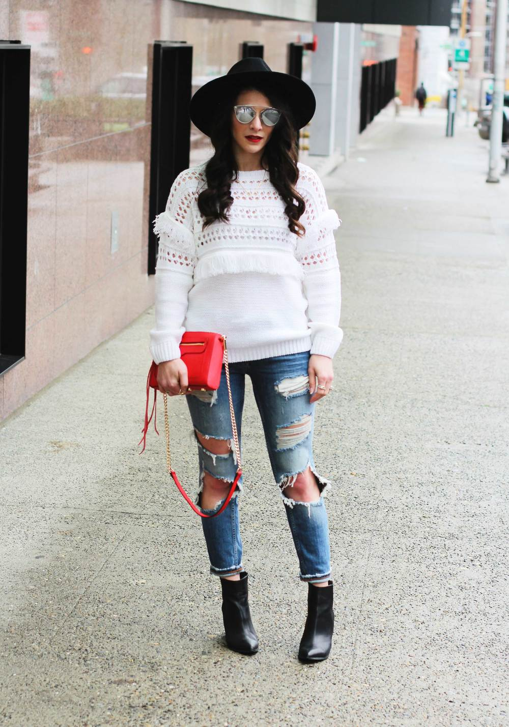 Winter Outfit, JOA Openwork Pullover Fringe Sweater, Destroyed Skinny Jeans, Seychelles 'Accordian' Booties, Brixton Mayfield II Hat, Dior Look Alike Sunglasses, Red Rebecca Minkoff 'Avery' Crossbody