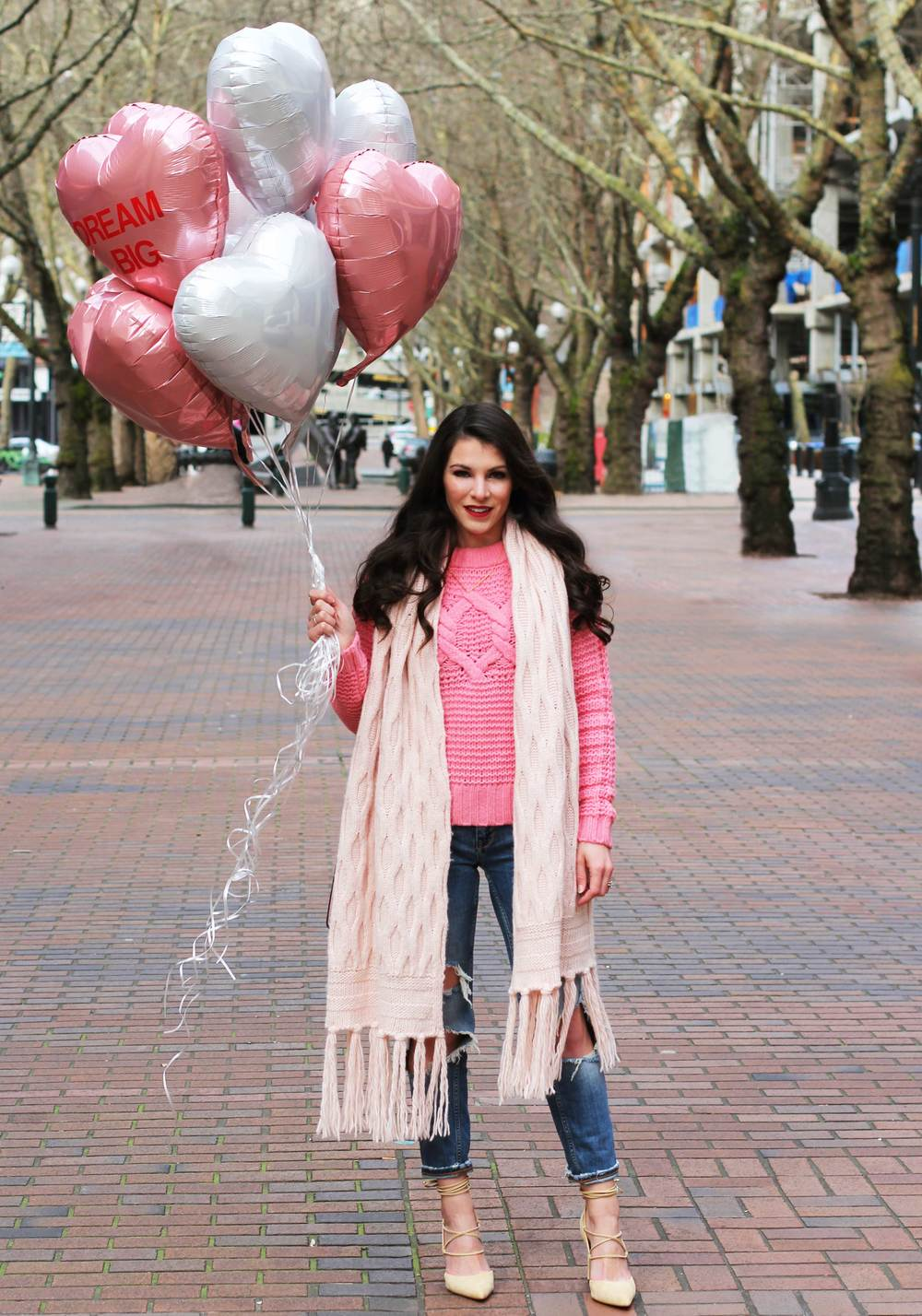 "Casual Valentine's Day Outfit, Banana Republic Cable-Knit Sweater & Scarf, Destroyed Girlfriend Jeans, Sam Edelman ""Dayna"" Lace-Up Pumps, Rebecca Minkoff 'Mab Mini' Handbag, Conversation Heart Balloons"