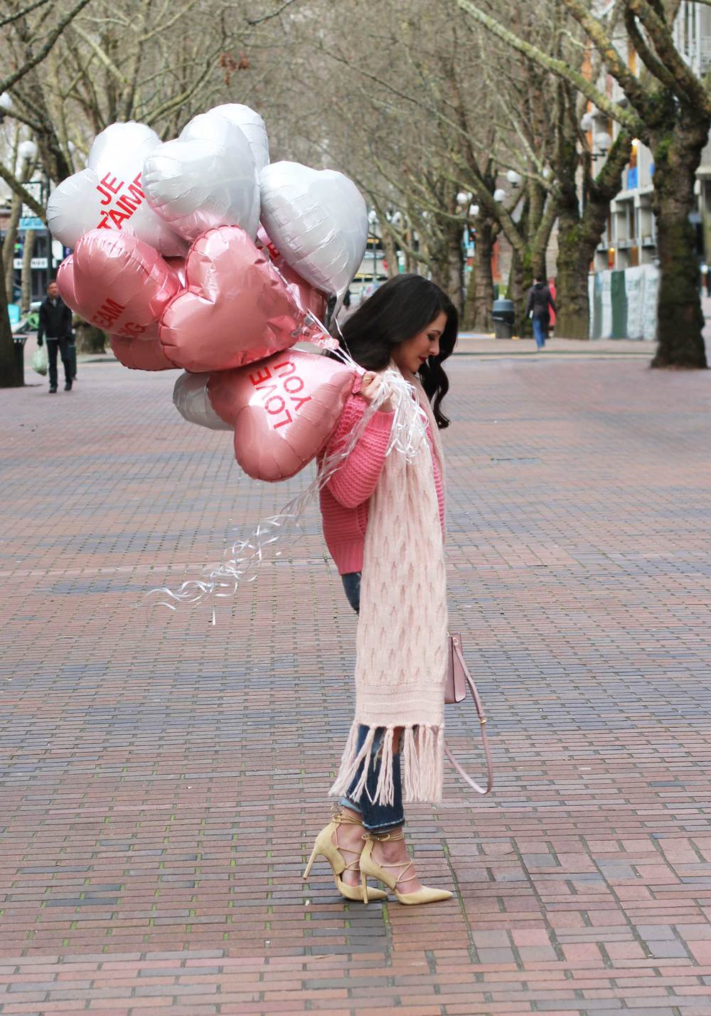 "Casual Valentine's Day Outfit, Banana Republic Cable-Knit Sweater & Scarf, Destroyed Girlfriend Jeans, Sam Edelman ""Dayna"" Lace-Up Pumps, Rebecca Minkoff 'Mab Mini' Bag, Conversation Heart Balloons"