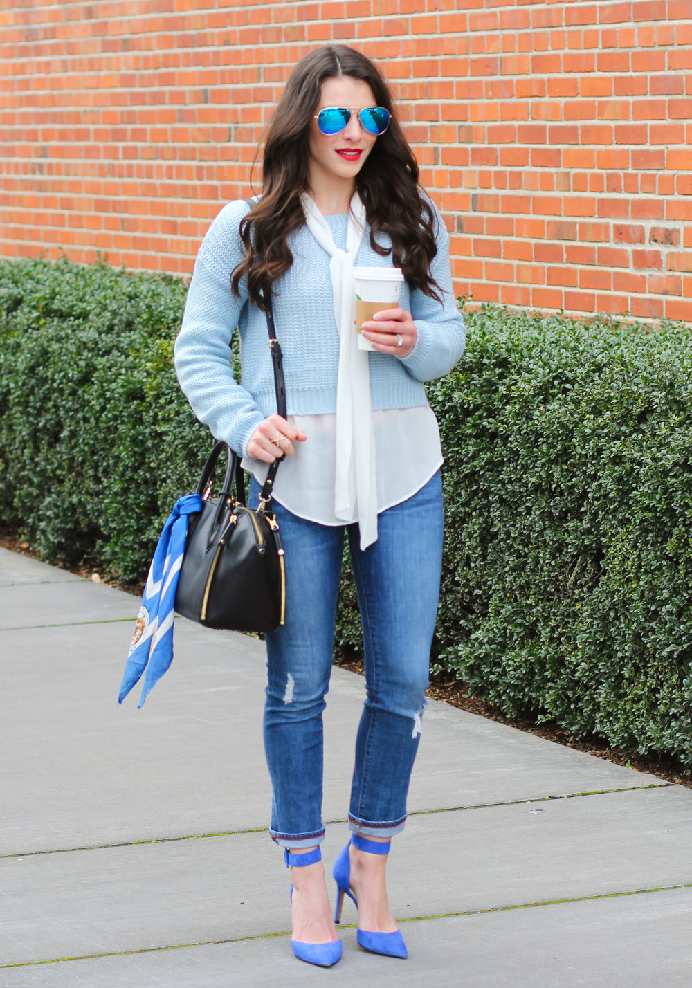 Winter Outfit, Cropped Sweater with Bow Blouse, Blue Mirrored Aviator Sunglasses, Rebecca Minkoff Mini Perry Satchel, Scarf Bag Accessory, Blue Suede Pumps