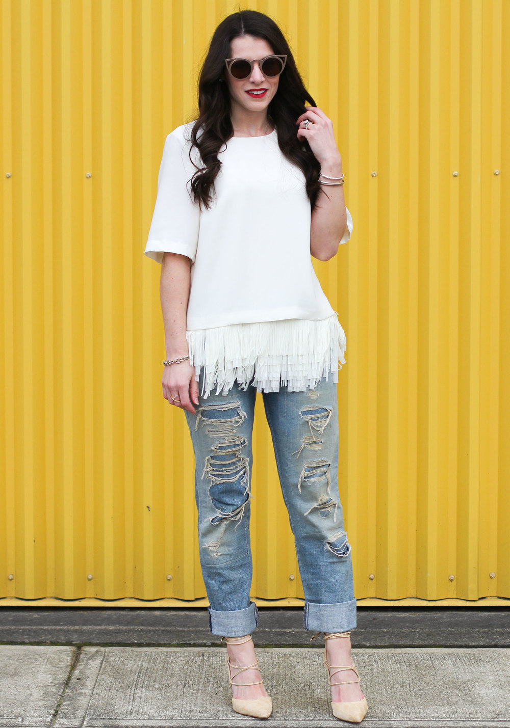 Update Your Wardrobe With One Piece, Banana Republic Crepe Fringe Top, Current/Elliott Boyfriend Jeans, Sam Edelman Dayna Lace-Up Pumps, Vintage Chanel Handbag, Spring Fashion 2016