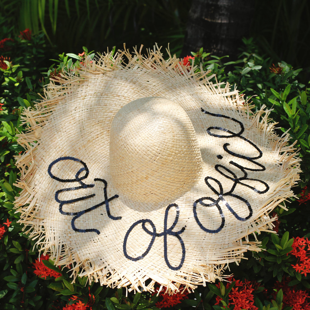 "DIY Eugenia Kim ""Wish You Were Here Hat"", Hat for destination bride, floppy hat for honeymoon, Honeymoon in Cancun at The Beloved Hotel"