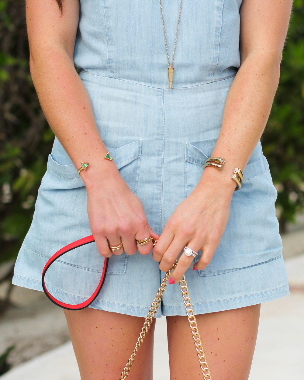 Summer Outfit, Vacation Style, BDG High-Neck Chambray Romper, Sam Edelman Yardley Lace-Up Sandals, Rebecca Minkoff Avery Crossbody Bag, Melinda Maria Jewelry, House of Harlow 1960 Native Legend Cuff
