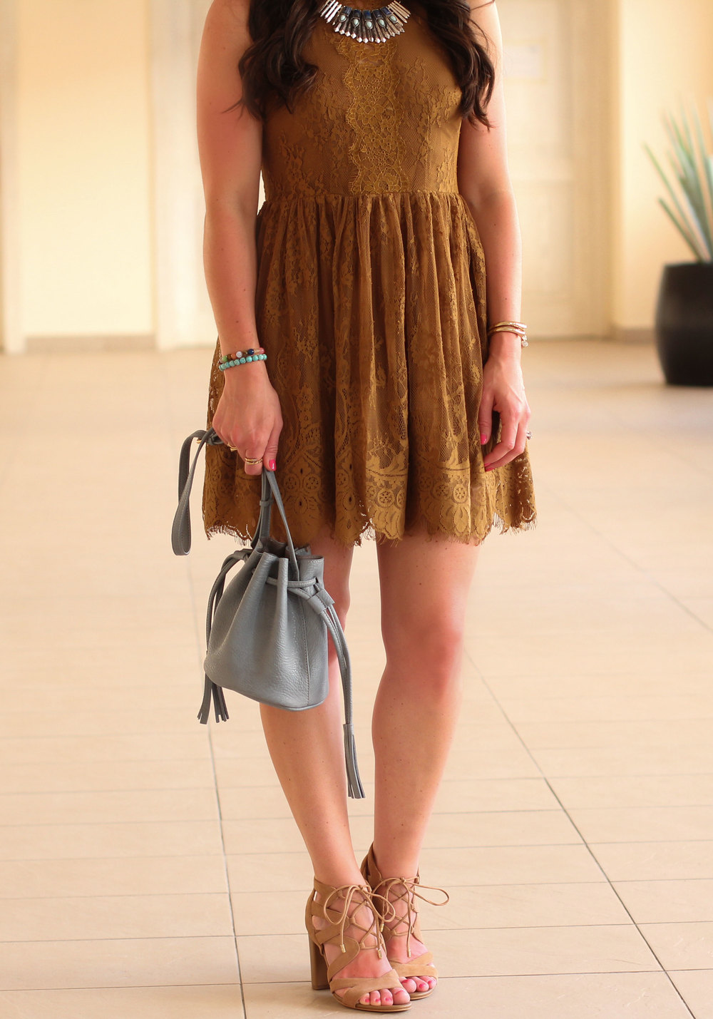 Vacation Outfit, Free People Verushka Mini Dress, Sam Edelman Yardley Lace-Up Sandals, Turquoise Necklace, Chambray Bucket Bag (Less than $50!)