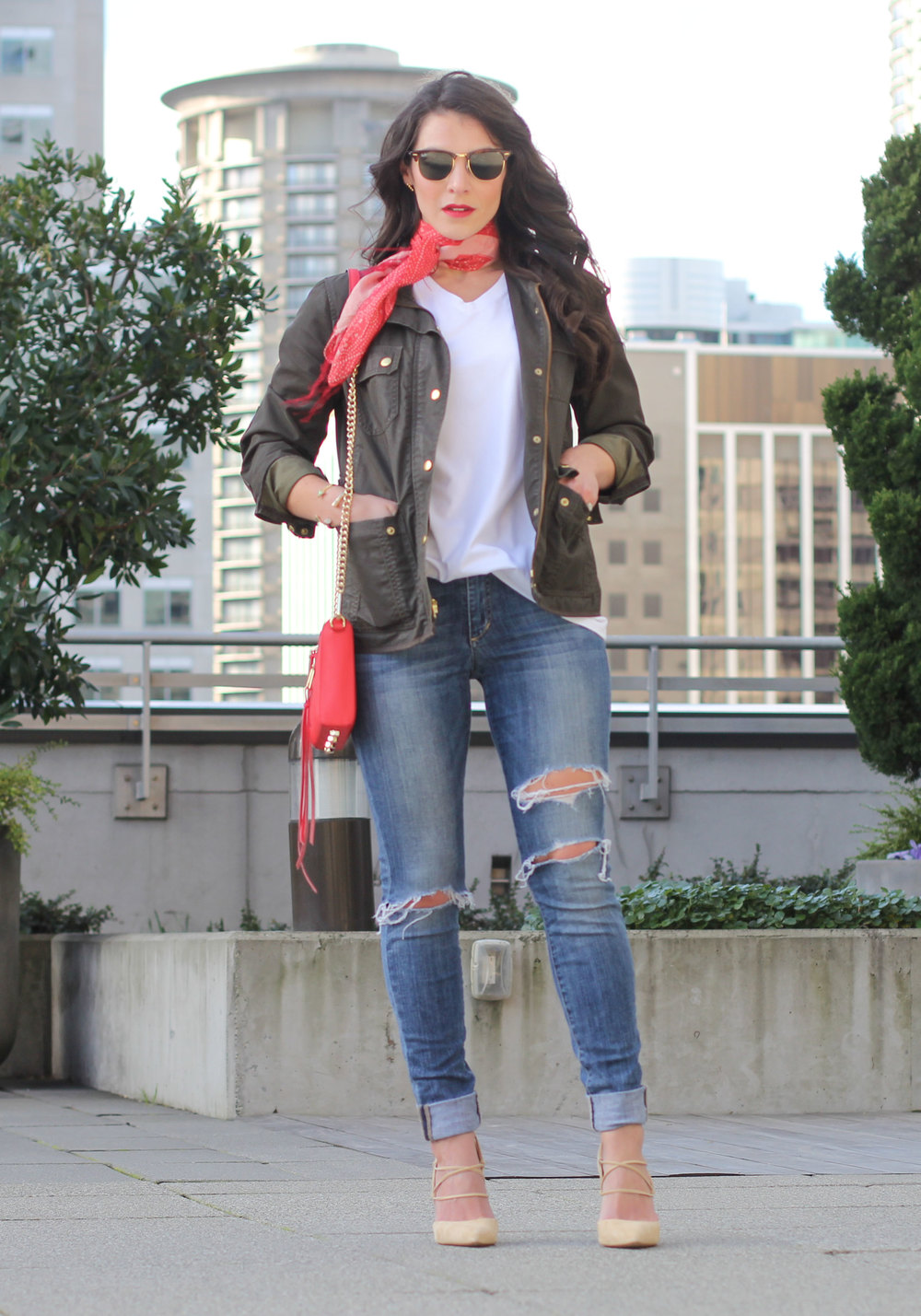 Shop His Closet: How to wear a boyfriend tee, Red Scarf, J.Crew Downtown Field Jacket, Sam Edelman 'Dayna' Pumps, Rebecca Minkoff Avery Crossbody